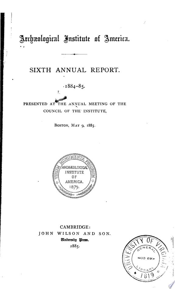 Annual Report   Archaeological Institute of America
