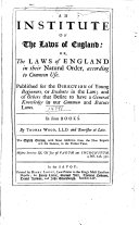 Pdf An Institute of the Laws of England