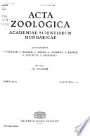 Acta Zoologica Academiae Scientarum Hungaricae