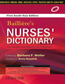 Bailliere s Nurses Dictionary for Nurses and Health Care Workers  1st South Asia Edition   E book