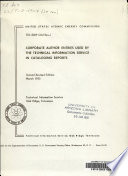 Corporate Author Entries Used By The Technical Information Service In Cataloging Reports