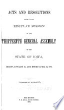 Acts and Resolutions Passed at the     Session of the General Assembly of the State of Iowa Book