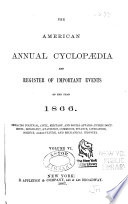 The American Annual Cyclop Dia And Register Of Important Events