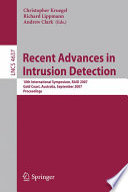 Recent Advances In Intrusion Detection Book PDF