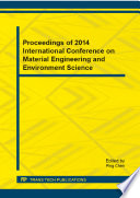 Proceedings Of 2014 International Conference On Material Engineering And Environment Science Book PDF