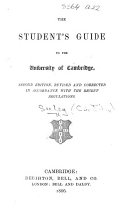 The Student s Guide to the University of Cambridge  By various writers  Edited by J  R  Seeley
