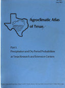 Agroclimatic Atlas of Texas Book
