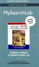 Mysearchlab with Pearson Etext    Standalone Access Card    For History of Music in Western Culture