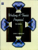 Writing a Thesis Proposal First Edition