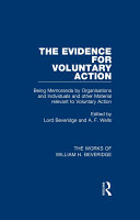 The Evidence for Voluntary Action (Works of William H. Beveridge)