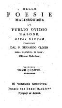 Delle poesie malinconiche libri 5 commentati da Bernardo Clodio. Ed. 11