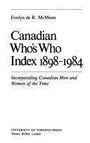 Canadian Who's who Index, 1898-1984