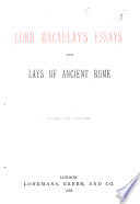 Essays and Lays of Ancien Rome Book PDF