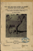 Man  the Greatest Enemy of Desert Bighorn Mountain Sheep