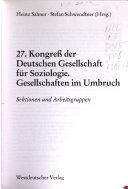 Verhandlungen des... Kongresses der Deutschen Gesellschaft für Soziologie in...