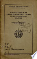 List of Bulletins of the Agricultural Experiment Stations for the Calendar Years 1933 and 1934