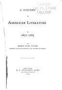 A History of American Literature      1676 1765