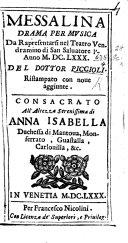Messalina  drama per musica  in three parts and in verse      Con nove aggiunte  etc