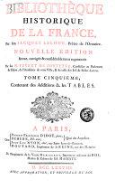 Bibliothèque historique de la France