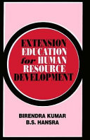 Extension Education For Human Resource Development
