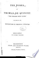 The    Works of Thomas De Quincey  Confessions of an English opium eater Book PDF