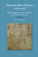 Honorius III et l'Orient (1216-1227)
