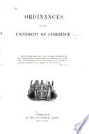 Ordinances Of The University Of Cambridge