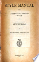 Style Manual of the Government Printing Office