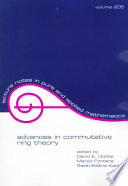 Advances in Commutative Ring Theory
