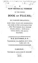 A New Metrical Version of the Whole Book of Psalms