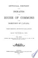 Official Reports of the Debates of the House of Commons of the Dominion of Canada Book PDF