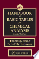 Crc Handbook Of Basic Tables For Chemical Analysis Book PDF