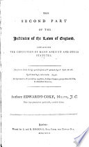 The Second Part of the Institutes of the Laws of England Book