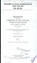 Department of Justice Authorization for Fiscal Year 1989 Book