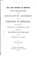 Laws, joint resolutions, and memorials passed at the regular session of the General Assembly of the Territory of Nebraska