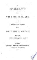 A New Translation of the Book of Psalms: From the Original