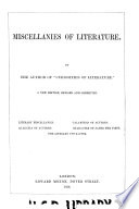 Miscellanies of Literature Book