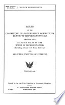 Rules Of The Committee On Government Operations House Of Representatives