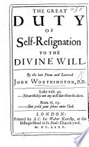 The Great Duty Of Self Resignation To The Divine Will