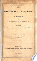 The Biographical Treasury A Dictionary Of Universal Biography Etc