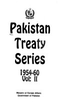 Pakistan Treaty Series 1954 60
