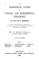 Pdf An Elementary Course of Natural and Experimental Philosophy, for the Use of Beginners