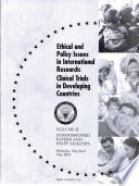 Ethical and Policy Issues in International Research  Commissioned papers and staff analysis