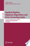 Applied Algebra  Algebraic Algorithms and Error Correcting Codes