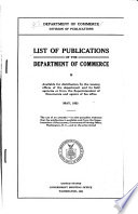 List Of Publications Of The Department Of Commerce Available For Distribution
