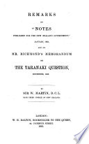 Remarks On Notes Published For The New Zealand Government January 1861 And On Mr Richmond S Memorandum On The Taranaki Question December 1860