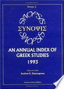 Synopsis An Annual Index Of Greek Studies 1993 3