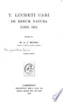 T  Lucreti Cari De Rerum Natura Libri Sex