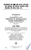Departments Of Labor And Health Education And Welfare And Related Agencies Appropriations For Fiscal Year 1976