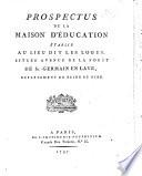 Prospectus De La Maison D Ducation Tablie Au Lieu Dit Les Loges Situ E Avenue De La For T De St Germain En Laye Etc By Imbert